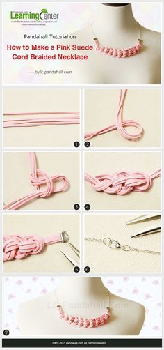 How to-Make-a-Pink-Suede-Cord Braided Necklace