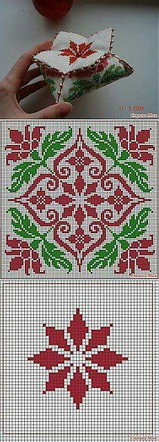 Embroidery Christmas Patterns Navidad Ideas For 2019 Biscornu Cross Stitch, Cross Stitch Charts, Cross Stitch Designs, Cross Stitch Embroidery, Embroidery Patterns, Cross Stitch Patterns, Palestinian Embroidery, Tapestry Crochet, Knitting Charts