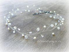 Samantha Bridal Hair Vine  Crystal & pearl by Kathleen Barry Jewelry Bridal headband #wedding #crystal #silver #wire dainty hair wreath www.kathleenbarry.co.za
