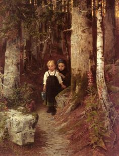 The Little Squirrel :: Ernst Freiesleben - Children's portrait in art and painting Hans Gretel, Glasgow Museum, Hansel Y Gretel, Baumgarten, Different Kinds Of Art, Lost In The Woods, Fable, Brothers Grimm, Grimm Fairy Tales