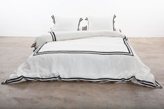 Linen Duvet Cover with Black Grosgain Ribbon at redroosters.com