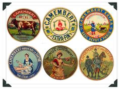 How pretty are these collectible labels from old Camembert boxes?