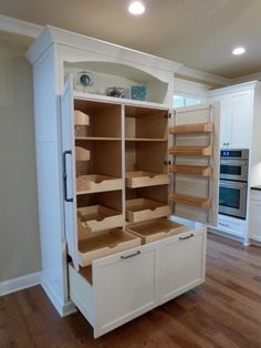 Custom Built-In Pantry with Rollout Shelves – craftsman – Kitchen – Other Metro … - kitchen pantry cabinets Stand Alone Kitchen Pantry, Kitchen Pantry Cupboard, Kitchen Pantry Design, Wall Pantry, Pantry Cabinet Ikea, Armoire Pantry, Hoosier Cabinet, Kitchen Ideas, Armoire In Kitchen