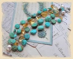 sleeping beauty turquoise, citrine, and fwpearls