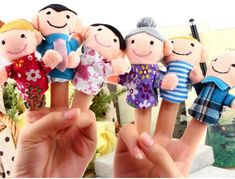 Dedo Dedo Del Juguete Del Dedo de la Marioneta Happy Family Muñeca Muñecas Del Paño Del Bebé Juguetes Del Bebé Muchachas de Los Muchachos Del Cabrito Del Niño de Juguete Educativo Mano