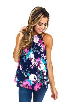 Navy/Fuchsia Floral Halter Top - Dottie Couture Boutique
