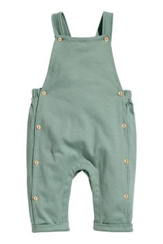 Cotton dungarees - Dusky green - | H&M GB