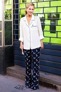 e33c62194bb Go full-on pajamas with a silk lined blouse and printed PJ pants. Pajama