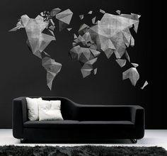 Mapa Mundo Efecto Cemento de wall-decals por DaWanda.com