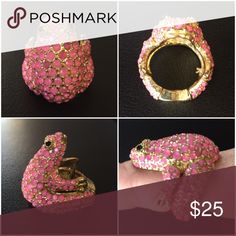 Pink frog ring Ring is adjustable Jewelry Rings