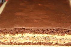 Blat 1 : 6 oua 200 g zahar 4 lg apa clocotita 150 g faina 1 plic praf de copt 2 lg cacao Citeste mai mult ... >>> Blat 2 : 5 albusuri 200 g zahar 3 lg faina 250 g nuca prajita si taiata Crema 1 : 5 galbenusuri 200 g zahar 300 g unt Crema 2 : 350 ml lapte 1 plic praf de budinca de vanilie 3 lg zahar 3 plicuri zahar vanilat Glazura : 100 ciocolata cu lapte milka 1 lg unt 2 lg lapte Mod de preparare : Pentru blat 1 : mixam ouale cu zaharul pana isi dublesc volumul, adaugam apa clocotita... Sweets Recipes, Just Desserts, Bread Recipes, Cooking Recipes, Focaccia Bread Recipe, Romanian Desserts, Sweet Tarts, Pavlova, Bakery
