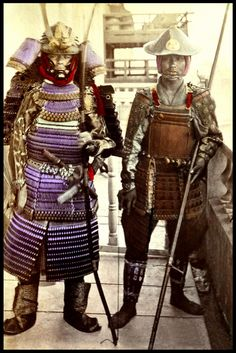 Two ex-samurai in their old armor. 1870
