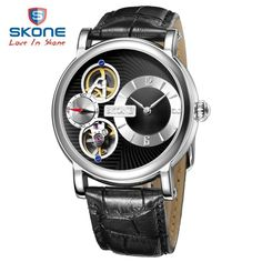 38.30$  Watch here  - SKONE Skeleton Dress Watch Men Top Brand Luxury Leather Mens Automatic Watches Relogio Masculino Reloj Hombre Montre Homme XFCS