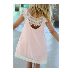 Round Neck Lace Patchwork Light Pink Dress ($19) ❤ liked on Polyvore featuring dresses, pink, lace mini dress, pink mini dress, lace sleeve dress, long-sleeve mini dress and short sleeve lace dress