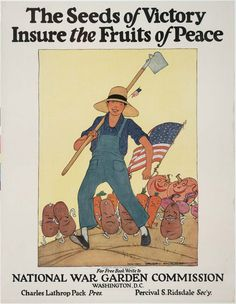 """Vintage Victory Garden Poster: """"The seeds of victory insure the fruits of peace"""""""
