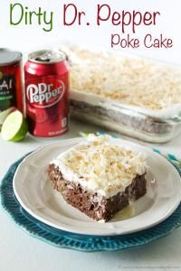 Dirty Dr. Pepper Poke Cake is so moist and delicious!