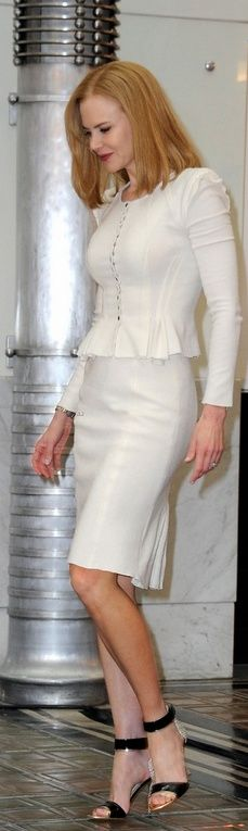 Who made Nicole Kidman's white skirt, white jacket, and black sandals that she wore in Vienna on March 24, 2013? Jacket and skirt – Nina Ricci  Shoes – Nicholas Kirkwood
