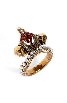 Alexander McQueen Alexander McQueen Crown Skull Statement Ring available at #Nordstrom
