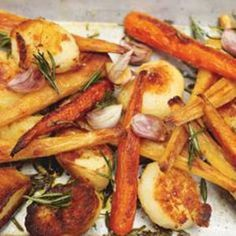 Roast potato with parsnips and carrots