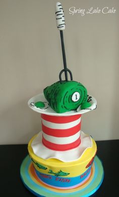 "Seuss Birthday Cake - Representing ""oh the places you'll go"" ""cat in the hat"" ""One fish, two fish"" ""green eggs and ham."" The plate is also gumpaste. Very fun cake to do make! Unique Cakes, Creative Cakes, Pretty Cakes, Cute Cakes, Dr Seuss Cake, Dr Suess, Dr Seuss Birthday Party, Birthday Cakes, Birthday Ideas"