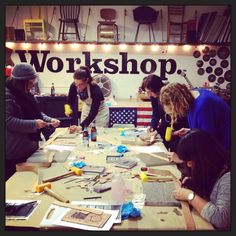 Last night I taught my first leather class at Workshop SF, and man what a blast. First off, the peeps at Workshop are so welcoming and cool I want to say . Workshop Sf, Leather Workshop, Loft Style, Industrial Loft, Event Photos, Team Building, Leather Working, Corporate Events, Leather Craft