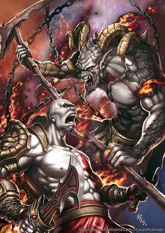 God of War by Wan Hsienwei Kratos Mortal Kombat, Comic Books Art, Comic Art, Kratos God Of War, Superhero Characters, Thor, Fan Art, Artwork, Anime