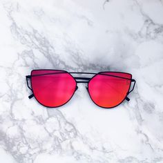 599150e973 UV 400 Metal Frames Polycarbonate Mirror Lens Red mirrored lenses Cat Eye  Sunglasses