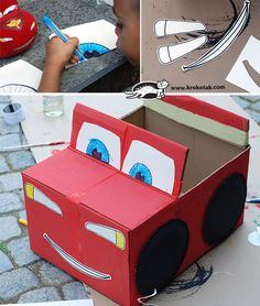 DIY cardboard car Source by Cardboard Car, Cardboard Box Crafts, Cardboard Box Houses, Cardboard Playhouse, Cardboard Furniture, Carton Diy, Cars Birthday Parties, Disney Cars, Diy Toys