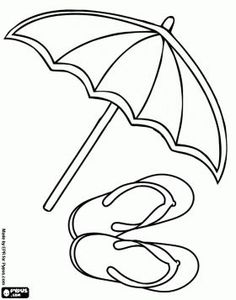 Beach Parasol And Flip Flop Sandals To Enjoy The Summer Coloring Page