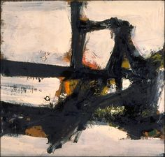 "Orange Outline, 1955. Franz Kline (1910-1962)  was an American painter mainly associated with the abstract expressionist movement centered around New York in the 1940s and 1950s. he was labeled an ""action painter"" because of his seemingly spontaneous and intense style, focusing less, or not at all, on figures or imagery, but on the actual brush strokes and use of canvas. For most of Kline's [mature and representative] work, however, as the phrase goes, ""spontaneity is practiced""."