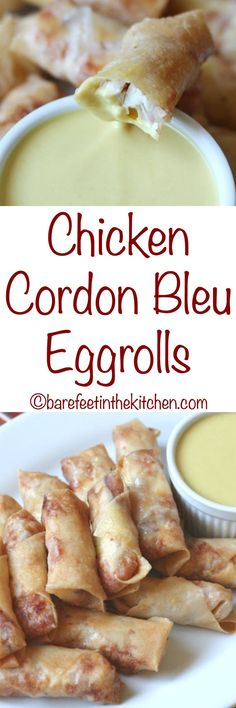 All the flavors of classic chicken cordon bleu are wrapped up in these Chicken Cordon Bleu Eggrolls! Get the recipe at barefeetinthekitchen.com