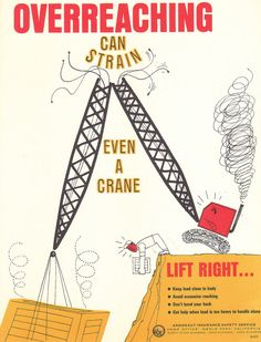 Vintage Safety Poster - Overreaching Can Strain