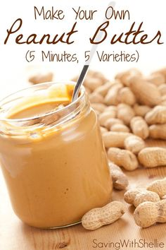 Peanut butter in just 5 minutes. No junk. No preservatives. See recipes for Creamy, Chunky, Cinnamon-Raisin, Honey and Chocolate Peanut Butter. You'll never buy store bought again!