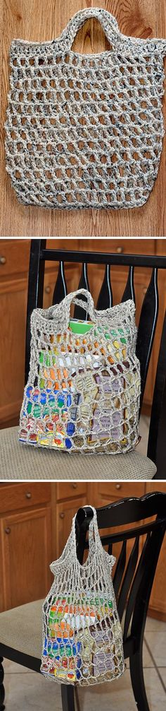 version sac filet en rond : ne pas oublier un anneau marqueur pour chaque rang ! It starts from the top down. Crochet Market Bag, Crochet Tote, Crochet Handbags, Crochet Purses, Knit Or Crochet, Filet Crochet, Crochet Crafts, Crochet Projects, Purse Patterns
