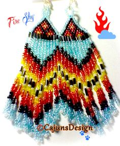 LONG 5 Inch Native American Seed Bead Earrings by CajunsDesign, $35.00