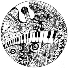 Free printable difficult grown-up coloring pages Music, Creative leisure activities, Beautiful drawings Keyboard and guitar, Drawing Music Keyboard and guitar 9 Coloring Book Pages, Printable Coloring Pages, Coloring Sheets, Zen Doodle, Doodle Art, Yen Yang, Mandalas Painting, Music Drawings, Zentangle Patterns