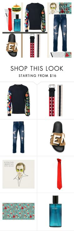 """""""Dressed In Rags"""" by osmianannya ❤ liked on Polyvore featuring J.W. Anderson, Y/Project, Philipp Plein, Versace, men's fashion, menswear, belt, sandals, jeans and pullover"""