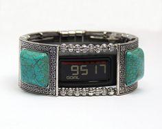 Garmin Vivofit 1, Vivofit 2, and Vivofit 3 Bracelet: Turquoise and Silver Greek Key with Window