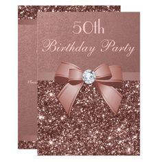 Any Age Birthday Rose Gold Glitter Diamond Bow Invitation Blush Wedding Invitations, Glitter Invitations, Graduation Party Invitations, Elegant Wedding Invitations, Wedding Stationery, Invitation Birthday, Birthday Roses, Glitter Birthday, Gold Birthday Party