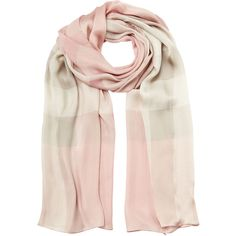 Burberry Shoes & Accessories Silk Check Scarf (295 AUD) ❤ liked on Polyvore featuring accessories, scarves, burberry, rose, wrap shawl, burberry scarves, burberry shawl and pure silk scarves