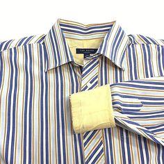 5b23ba259c7 Ted Baker London Mens Multi Color Striped Button Flip Cuff Long Sleeve 16  32 33