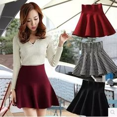 Womens Pleated Fashion Mini Stretch Tight High Waist A-Line Short Skirts