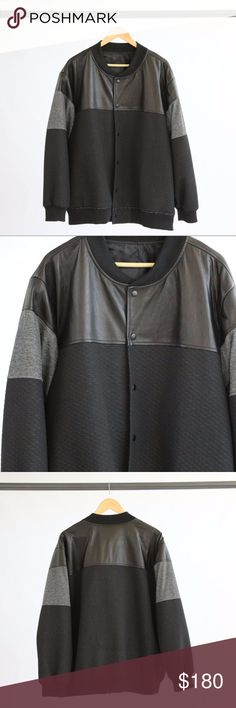 Custom Black Button Up Jacket Black custom button jacket with genuine leather panels on upper chest, shoulders and back. Grey panel on sleeve. Quilting detail on the lower half of sleeve and jacket. Custom Jackets & Coats Bomber & Varsity