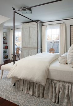 Washed Out Blue And Creamy Neutral Cottage Bedroom by Marianne Jones