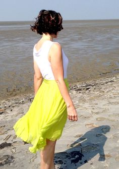 Neon green layered chiffon skirt / 100% silk / silk lined circle skirt