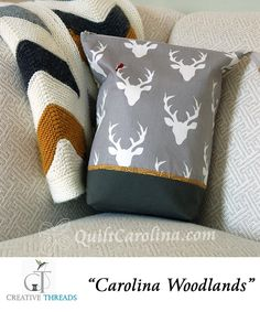 """""""Carolina Woodlands"""" – this pattern makes a great bag with an extended zipper to allow for a wide opening, ideal for your projects on-the-go! A 2017 Quilt! Carolina pattern."""