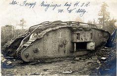 "A disabled British Mk IV 'Female' tank ""FW3"", Bourlon Village, November 1917 by drakegoodman, via Flickr"