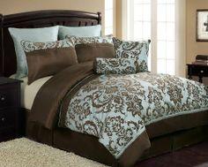 Damask bedding Damask comforter set Blue and brown bedding Blue and brown comforter set