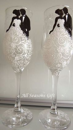 Wedding Champagne Glasses, Hand Painted Glasses, Anniversary Glasses, Personalized Wedding Gift, Bride & Groom Glasses, Lace wedding dress by 4AllSeasonsGift on Etsy