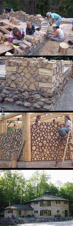 Unusual, and very interesting-looking, house made of log slabs.